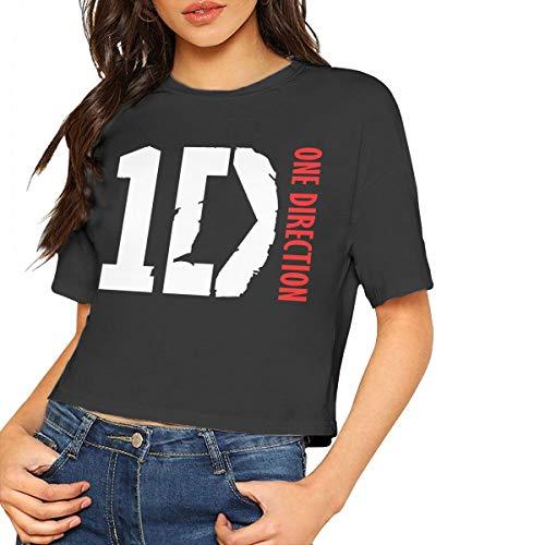 One Direction T Shirt Crop Top Women Blouse Dew Navel Shirt Round Neck Cotton Tee M Black