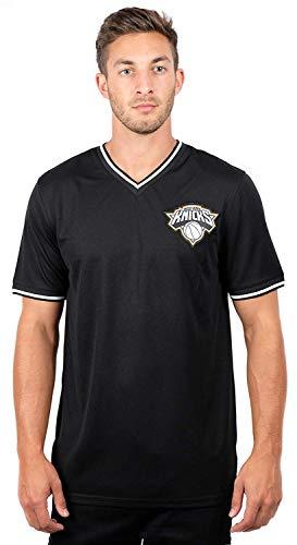 Ultra Game NBA New York Knicks Mens Jersey V-Neck Mesh Short Sleeve Tee Shirt, Black, Medium