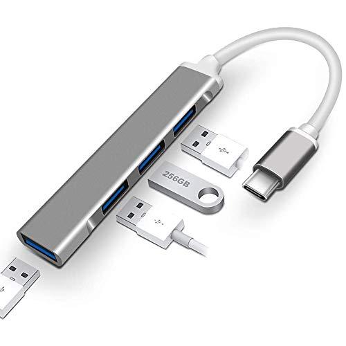 USB C Hub 4 puertos USB tipo C a USB 3.0 Hub adaptador con micro USB para iMac Pro, MacBook Air, Mac Mini/Pro, PC portátil, unidades flash USB aleación de aluminio