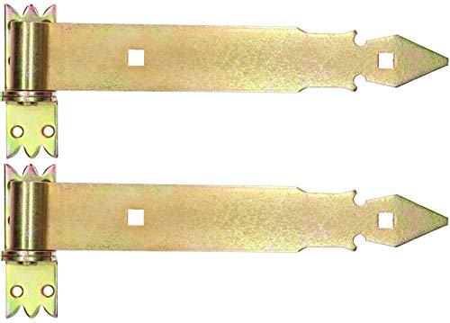 KOTARBAU® Ladenband 300 mm 2 St. mit Kloben Torband Türband Torscharnier Scharnier Baubeschlag Torbeschlag Türbeschlag Rostfrei Torzubehör Verzinkt Gelb