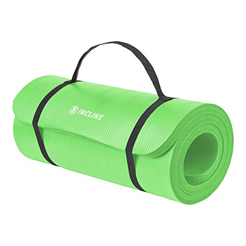 """Incline Fit Exercise Mat Ananda 1"""" Extra Thick Exercise Mat with Strap - Non Slip Workout Mat for Yoga, Pilates, Stretching, Meditation, Floor & Fitness Exercises, Neon"""