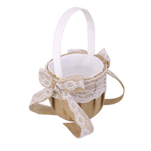 Hessischen Sackleinen Hochzeit Blumenmaedchen Korb Spitze Bowknot Dekor