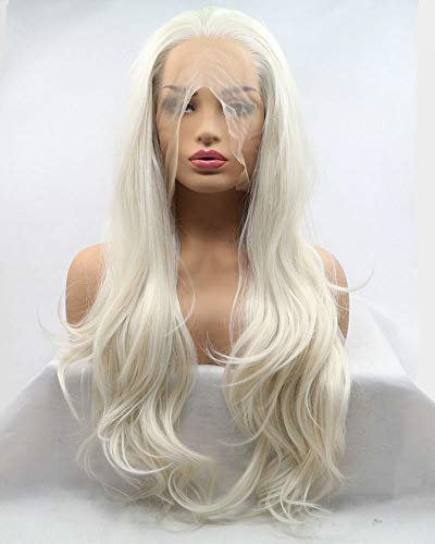 """Natural Hairline White Blonde Lace Front Wigs For Drag Queen Body Wave Long Synthetic Hair Women Female Cosplay Wedding Holidays Pastel Wigs 26"""""""