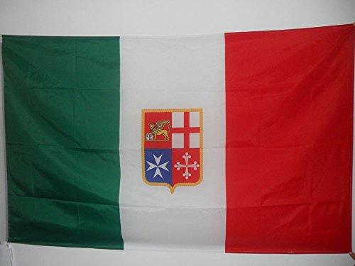 AZ FLAG Bandiera Marina MERCANTILE Italiana 150x90cm - Bandiera NAVALE d'Italia 90 x 150 cm Foro per Asta
