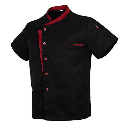 Baoblaze Cuoco Camicia Manica Corta Da Cucina per Uomo Donna - Nero, M