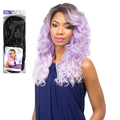 Sensationnel Perruque de cheveux synthétiques avec dentelle à bord fronceur et couture Rose T2/WH/PU (ombre noir/blanc/violet)