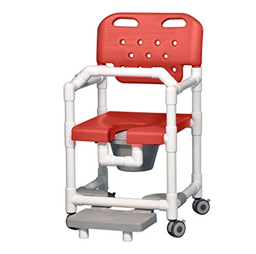 IPU ELT817 P FRLB Elite Shower Chair Commode with Footrest and Lap Bar for use Over existing Toilet, Bedside, and in The Shower (Red)
