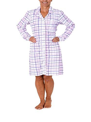 NORMANN WÄSCHEFABRIK Damen Nachthemd Langarm zum durchknöpfen im Karodesign Single Jersey - 213 90 153, Größe:48/50;Farbe:rosa