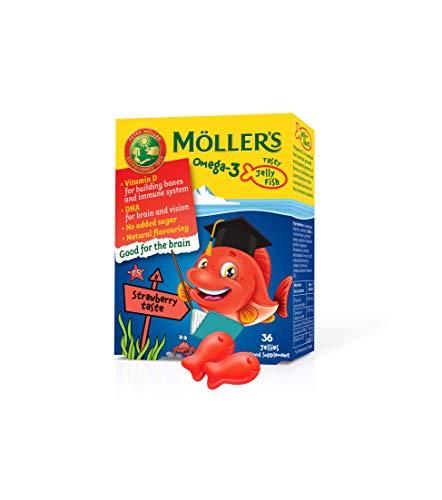 Moller's  | Omega 3 para niños | Omega 3 Cápsulas de Aceite de Pescado con Ácidos Grasos Omega 3 de Aceite de Pescado | Con DHA y EPA, Sin Gluten, Sin Lactosa, Sin Azucares Añadidos | Fresa | 36 Uds