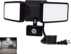 DLLT Outdoor Motion Sensor Light-20W Brightest Led Flood Light Fixture IP65 Sensitive Exterior Led Security Detector Lights Plug in 2-Adjustable Heads,1500LM Daylight for Garage Outside Yard Garden