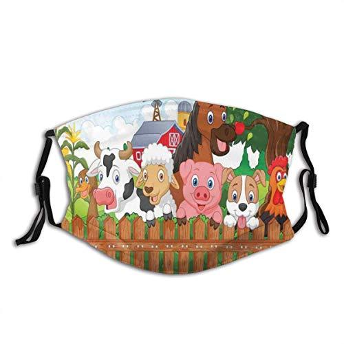 Face Protect Windproof Shield mit Filterzusammensetzung Nette Nutztiere auf Zaun Comic Maskottchen mit Hund Kuh Pferd Kinder Design Staubfilter Mund warm