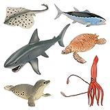 Achort Animales de Juguete Juguetes de Animales Marinos Surtido de 6 Mini Figuras de Animales Marinos de Pl├бstico, Fauna Submarina Realista para Jugar en el Ba├▒o, Fiesta Educativa del Mar