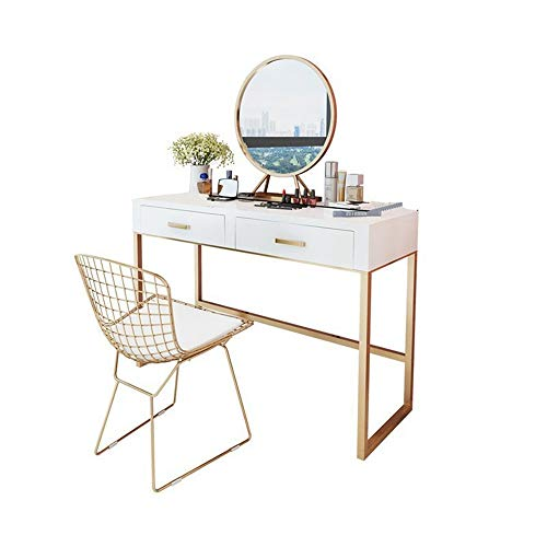 Best Review Of KoTag Dressing Table with Stool and Mirror Durable Vanity Set with Mirror and Cushioned Stool Dressing Table Vanity Makeup Table 2 Drawers for Women (Color, Size : 80x40x75cm)