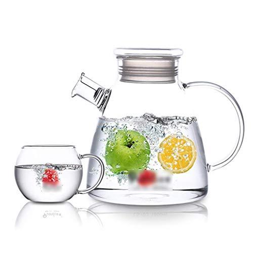 DX 1,8 liter glazen kan, glazen fles water gemakkelijk schoon te maken, gemakkelijk te legen zeer geschikt voor thee theepot ijsthee