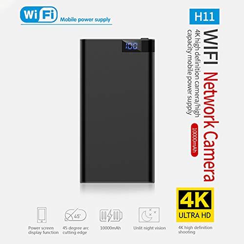 BEESCLOVER HD 4K 10000 mAh WiFi Power Bank cámara inalámbrica detección de movimiento visión nocturna cámara de seguridad Nanny Cam hogar y oficina negro