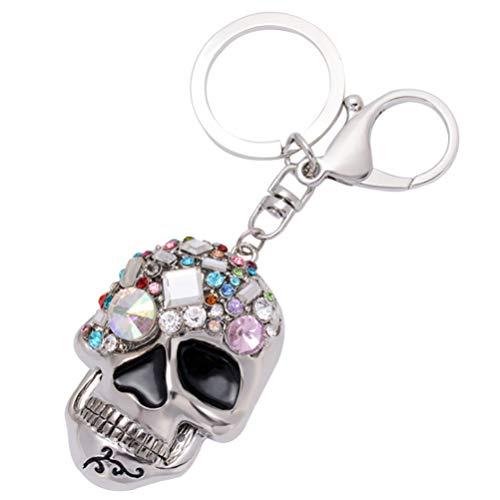 Amosfun Halloween-Totenkopf-Schlüsselanhänger, Skelettkopf, Metallauto, Anhänger, Tasche, Anhänger, für Halloween, Zubehör, Geschenk, Geschenke
