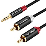 SHULIANCABLE Cable Audio Estéreo Jack 3,5mm a 2RCA, Jack a RCA Cable Audio para Smartphone, Sistema HiFi,iPod, Smart TV, Reproductor MP3, Tablet etc (0.5M)