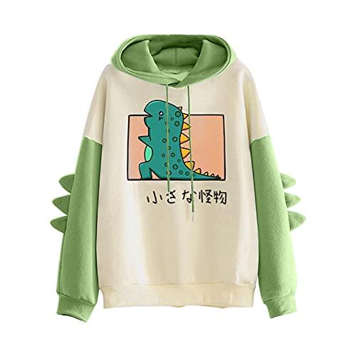 Blingko Kapuzenpullover Damen Elegant Kapuzenjacke Dinosaurier Hoodie für Frauen Teenager Mädchen Langarm Nette Kawaii Übergroße Sweatshirt Hoodies Kapuzenjacke Streetwear