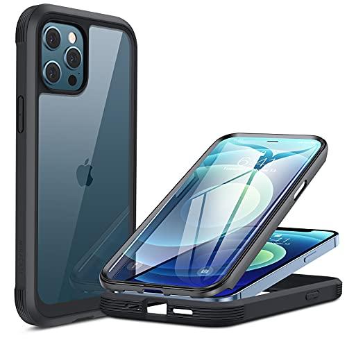 Miracase 360 Grad Hülle Kompatibel mit iPhone 12/12 Pro (6.1 Zoll), Ganzkörper Schutzhülle mit eingebauter Glas Displayschutzfolie, Stoßfeste Fullbody Handyhülle, Schwarz
