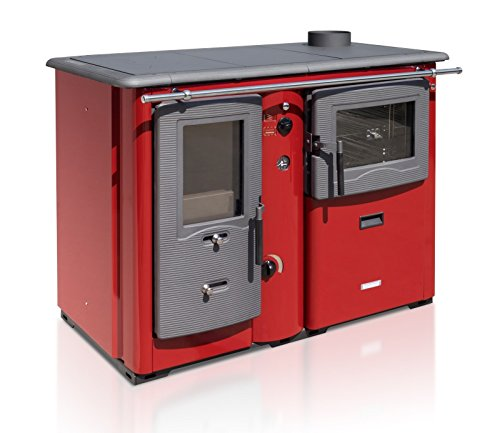 XXL-Wasserführender Küchenofen TEMY PLUS P 20, rot - dauerbrandfähig mit Sommer-/Winterfunktion - 20kW
