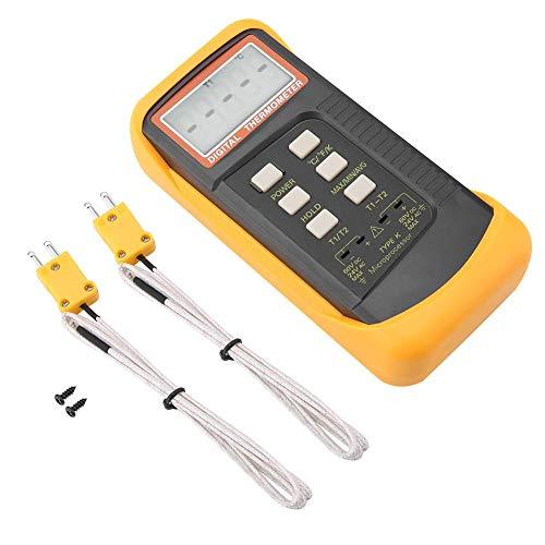 Rosvola Infrarot Thermometer, Zweikanal K Typ 6802II Digitales Thermoelement Thermometer Temperaturmessgerät -50 ° C-1300 ° C