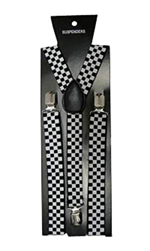 HOSENTRÄGER VERSTELLBAR HOSE STRAPSHALTER UNISEX KOSTÜM, - Black & White Checkered, Keine Angabe