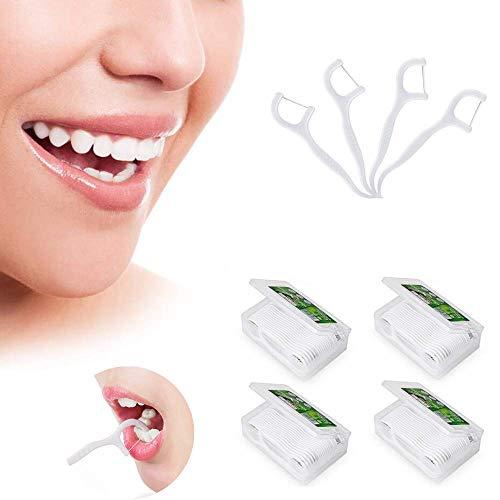 Dental Floss, Zahnseide Sticks,4- Packungen (200 Stk) Einwegzahnseide,Zahnreiniger Sticks mit Zahnstocher,zur Entfernung von Plaque und Speiseresten,perfekt für Familien,Hotels,Restaurant und Reisen
