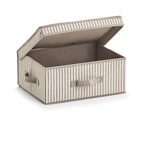 """Zeller 14645 Aufbewahrungsbox m. Deckel """"Stripes"""", Vlies, beige, ca. 38 x 29 x 16,5 cm"""