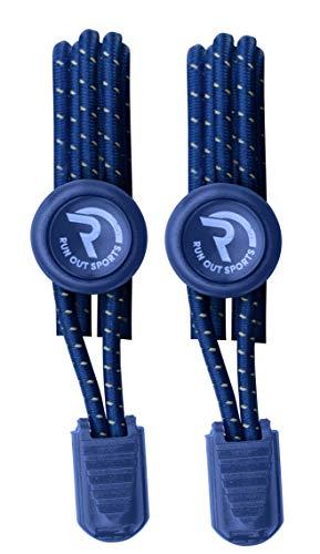 Run out sports elastische Schnürsenkel Schnellschnürsystem ohne Binden für Kinder, Damen, Herren (blau)