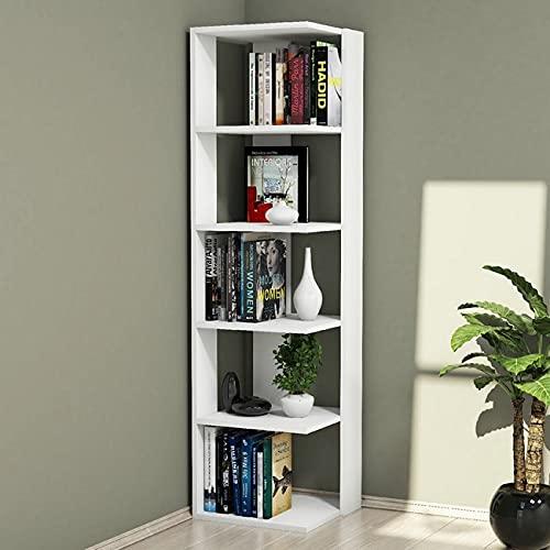 Homemania Libreria Corner Scaffale, Mobile da Parete - con Ripiani - da Salotto, Ufficio - Bianco in Legno, 41,8 x 41,8 x 160,8 cm