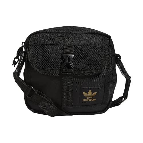 adidas Originals Large Festival Crossbody Bag, Black/Gold Reflective, One Size