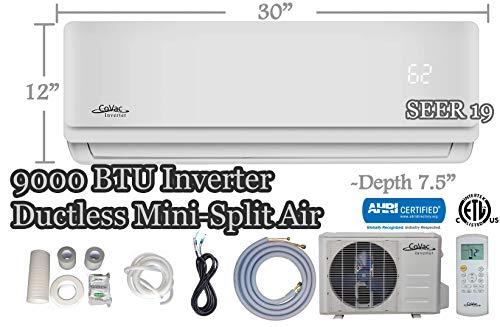 9,000 BTU CoVac Ductless Mini-Split Air Conditioner – Inverter SEER 19 – Cooling & Heating – Dehumidifier – 120v/60hz - PreCharged Condenser - Ultra Quiet - AHRI - 16 Feet Line Set + Accessories