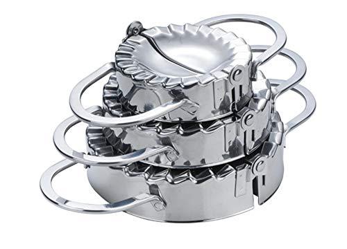LAEMALLS 3 Piezas Acero Inoxidable Molde para Masa para Hacer empanadillas, Ravioli, Prensa Cortador Maker Masa de Dumpling Molde Masa Herramienta de Cocina Accesorio