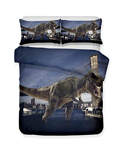 Duvet Cover Set with Zipper Purple Gray Dinosaur 3Pcs Bedding Quilt Cover Set with Pillowcases for Teens Kids Boys Girls, Hypoallergenic Durable Microfiber 78.7x78.7inch