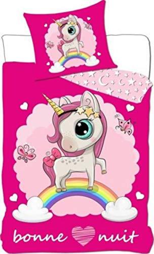 Juego de funda nórdica de unicornio en rosa