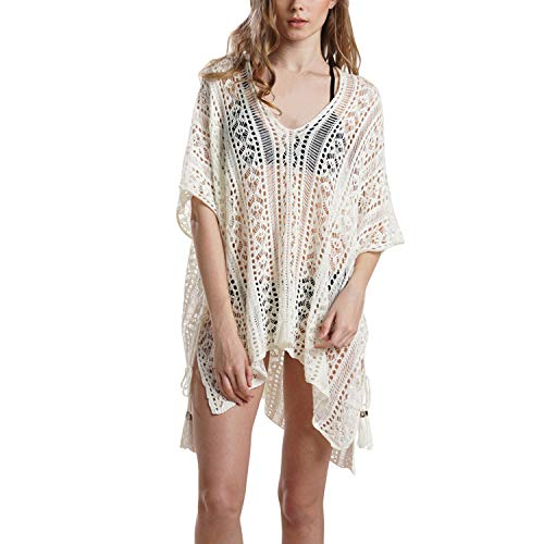 semen Damen Kleid Strandmode Strickmuster Bikini Cover Up Hollow Out Baggy Bademode Quaste Strandkleid Strand Poncho