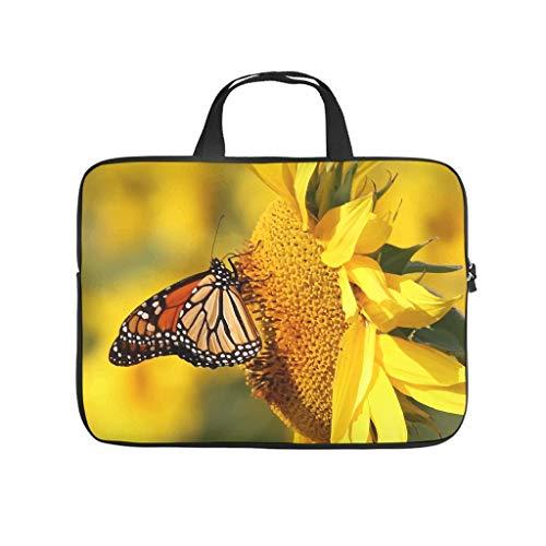 XINGYUE Sunlight Sunflower Butterfly Tablet Sleeve Personalizado Impreso Portátil Ordenador Portátil Manga Suave Tela de Neopreno Tablet Bolsa Protectora para Esposa Marido Blanco 17'