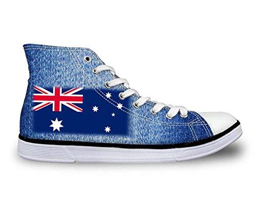 Flag Design Hi High Top Canvas Plimsolls Trainers Womens Lace Up Pumps Shoes Flag 6 UK 4