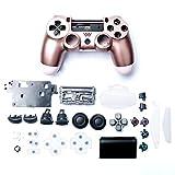 Carcasa de plástico para controlador de juegos con botones de repuesto para Sony Playstation 4 Slim JDM-040, color oro rosa