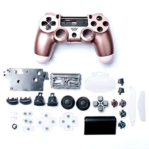 Kunststoff-Gehäuse für Game-Controller, Gehäuse mit Tasten, Ersatz-Set, passend für Sony Playstation 4 Slim JDM-040, Rotgold