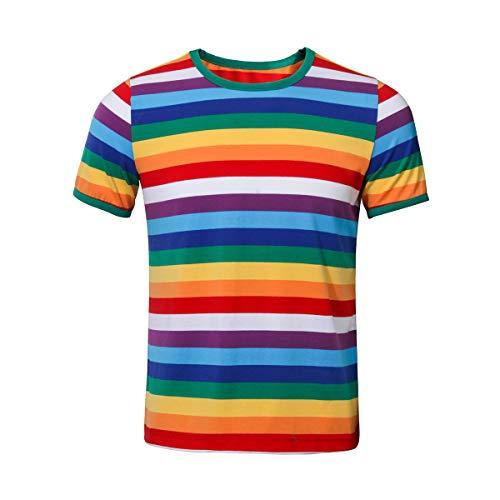 NUWIND Herren Regenbogen T-Shirt Männer gestreiftes Rundausschnitt Kurzarm Basic Oberteil Stranger Things Kostüm Season 3 (M)