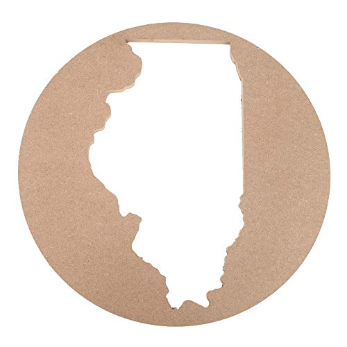 JoePaul's Crafts 15' Wooden Wall Silhouette - US State of Illinois - Premium MDF Wood Wall Decor (15 inch, IL)