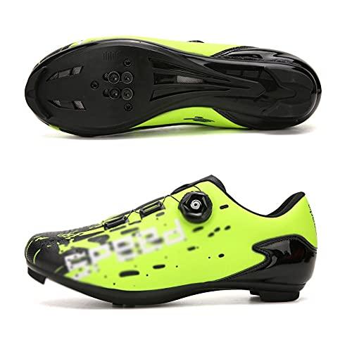 LIXIAOHONGG Zapatillas De Ciclismo para Adultos,Calzado para Bicicletas,con Tacos SPD Zapatillas De Ciclismo con Sistema De Bloqueo Antideslizante para Bicicleta De Carretera Transpirable