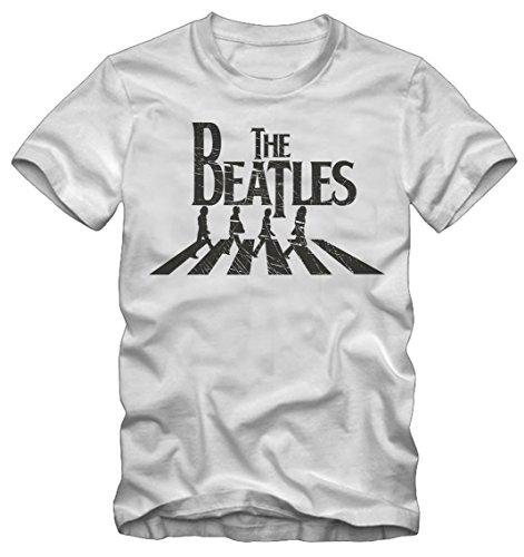 Bisura T-Shirt The Beatles (M Uomo, Bianco)