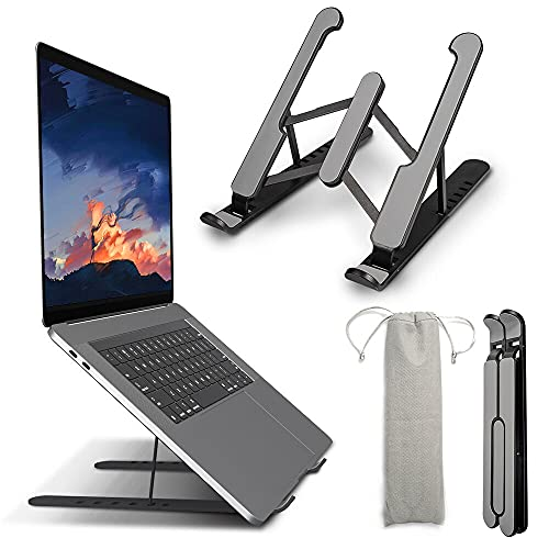 VersionTECH, Supporto per computer portatile, pieghevole, con 6 livelli di angolazione regolabili in altezza, supporto verticale per PC per tutti i computer portatili e tablet (colore nero)