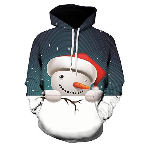 OverDose Damen Mens 3D Printed Weihnachten Pullover Langarm Mit Kapuze Sweatshirt Tops Bluse Party Clubbing Schnee Cool Warm Outwear(Schwarz2, 58 DE / 5XL CN )