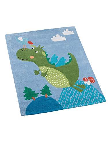 Kinderteppich 100% Baumwolle in Handarbeit hergestellt, Drache, 100 x 130 cm