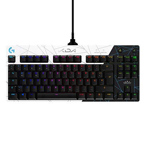 Logitech G PRO K/DA Mechanische Gaming-Tastatur, GX Brown Tactile Switches, Portabel, Micro-USB-Kabel-Anschluss 2.0, LIGHTSYNC RGB, League of Legends Gaming-Zubehör, Deutsches QWERTZ-Layout