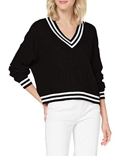 Urban Classics Ladies Short V-Neck College Sweater Sudadera, Negro, Blanco, 5XL para Mujer