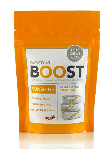 ELLACTIVA Boost Sunshine | Immunity Boosting Soft Chews with Vitamins D3 and C | 15 Soft Chews